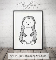 Black and White Hedgehog Wall Art Print - Woodland Nursery Decor for Modern Minimal home