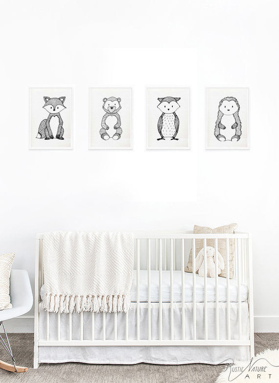 Black And White Nursery Wall Decor : Black and white bear wall art print woodland nursery