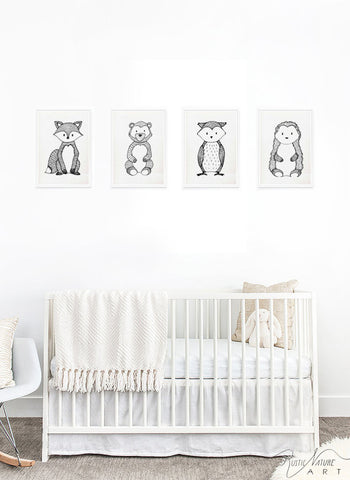 ... Art; Black and white little fox from woodland nursery decor; Blacku0026White little Fox Animal prints for your nursery Modern Nursery Animals Animal Wall  sc 1 st  RusticNatureArt & Black and White Fox Wall Art Print - Woodland Nursery Decor for ...