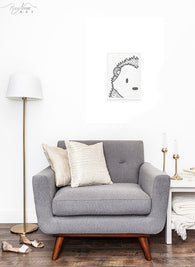 Stylish Black and White Hedgehog Face Wall Art Print from Woodland to a Modern Minimalist Nursery Decor