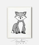 Black and white little fox from woodland nursery decor
