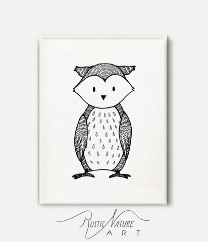 Black and White Owl Wall Art Print - Woodland Nursery Decor for ...