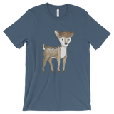 woodland animals deer on t-shirt for men blue