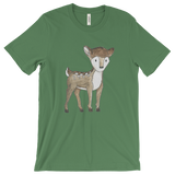 woodland animals deer on t-shirt for men green