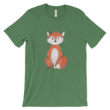woodland animals fox on t-shirt for men green
