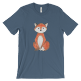 woodland animals fox on t-shirt for men steelblue
