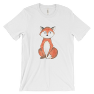 woodland animals fox on t-shirt for men white