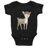 woodland nursery little deer baby bodysuit black