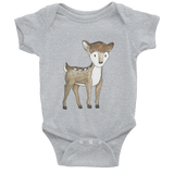 woodland nursery little deer baby bodysuit grey