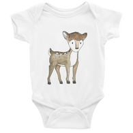 woodland nursery little deer baby bodysuit white