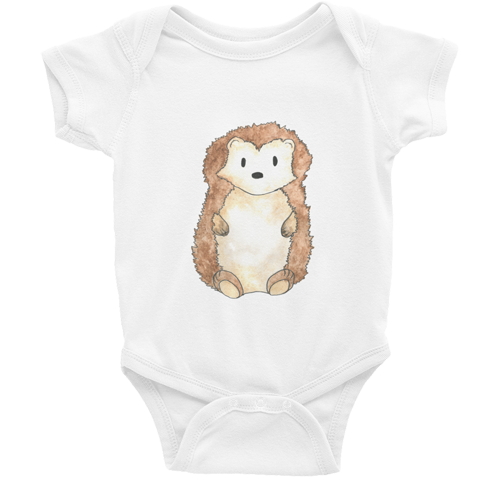 woodland nursery little hedgehog baby bodysuit white