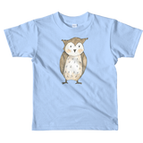 woodland nursery little owl on t-shirt baby blue