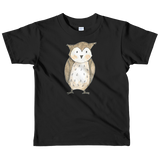 woodland nursery little owl on t-shirt black