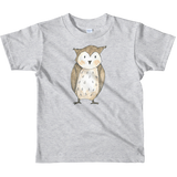 woodland nursery little owl on t-shirt grey