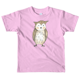 woodland nursery little owl on t-shirt pink