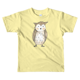 woodland nursery little owl on t-shirt yellow