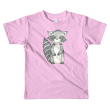 woodland nursery little raccoon on t-shirt pink