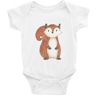 woodland nursery little squirrel baby bodysuit white