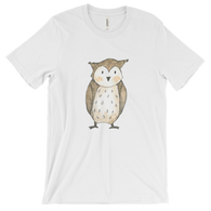 woodland animals owl on t-shirt for men white