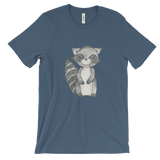 woodland animals raccoon on t-shirt for men blue