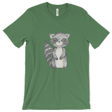 woodland animals raccoon on t-shirt for men green