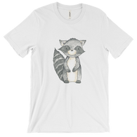 woodland animals raccoon on t-shirt for men white
