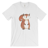 woodland animals squirrel on t-shirt for men white
