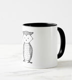 woodland mug little owl black&white elegant design