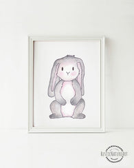Woodland Creatures Bunny without text Wall Art Print