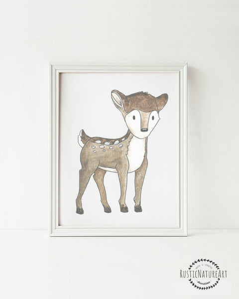 Woodland Creatures Deer without text Wall Art Print