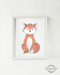 Woodland Creatures Fox without text Wall Art Print