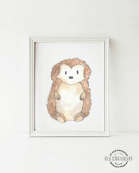 Woodland Creatures Hedgehog without text Wall Art Print