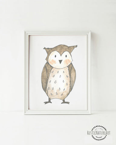 Woodland Creatures Owl without text Wall Art Print