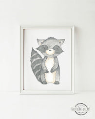 Woodland Creatures Raccoon without text Wall Art Print