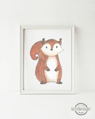 Woodland Creatures Squirrel without text Wall Art Print