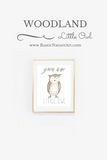 woodland little owl wall art print nursery decor