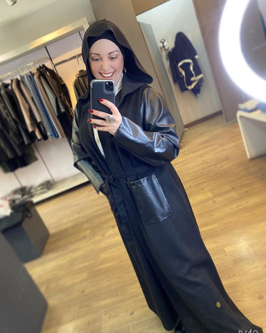 Leather chamois maxi Coat