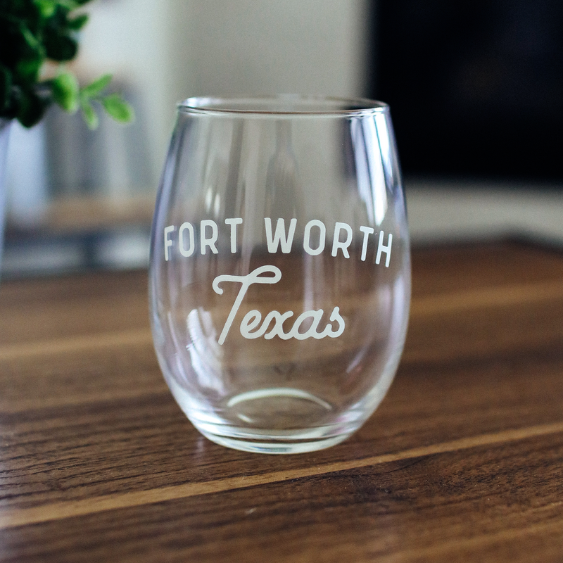 Fort Worth Texas - Stemless Wine Glass