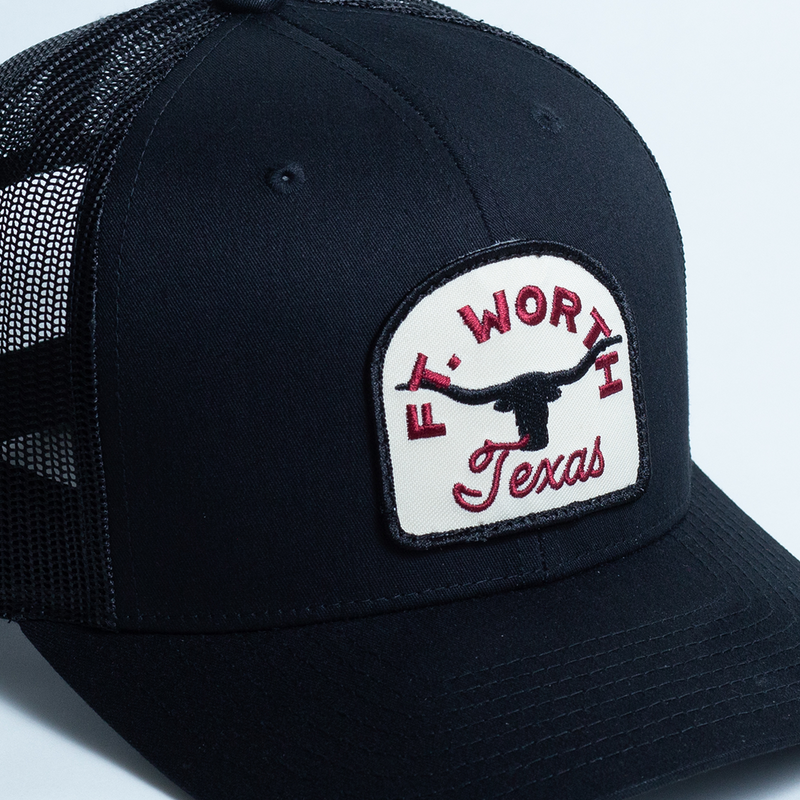Fort Worth Texas Steer - Trucker Hat - Black