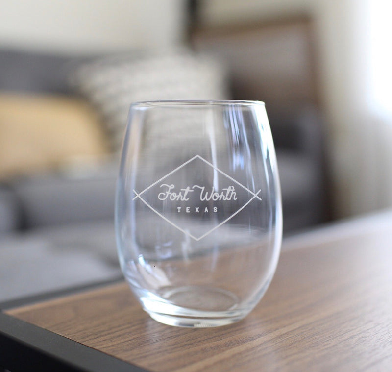 Fort Worth Diamond - Stemless Wine Glass