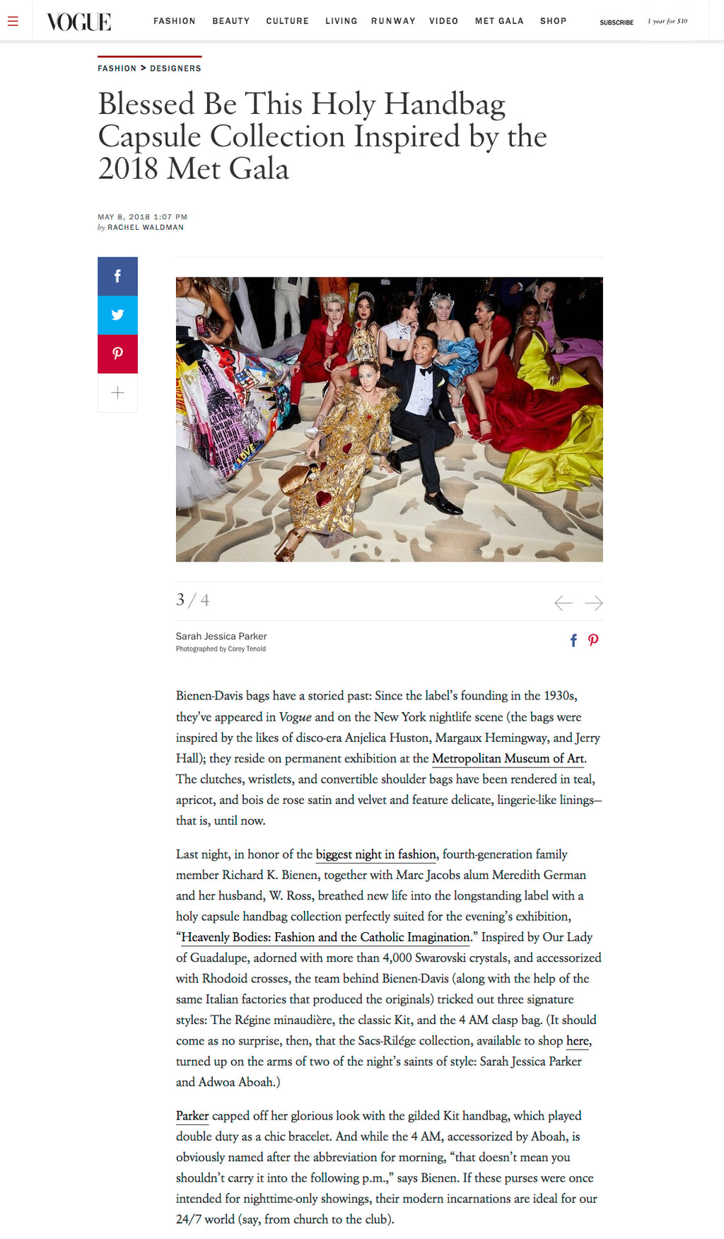 Bienen-Davis Vogue.com May 2018 Met Gala