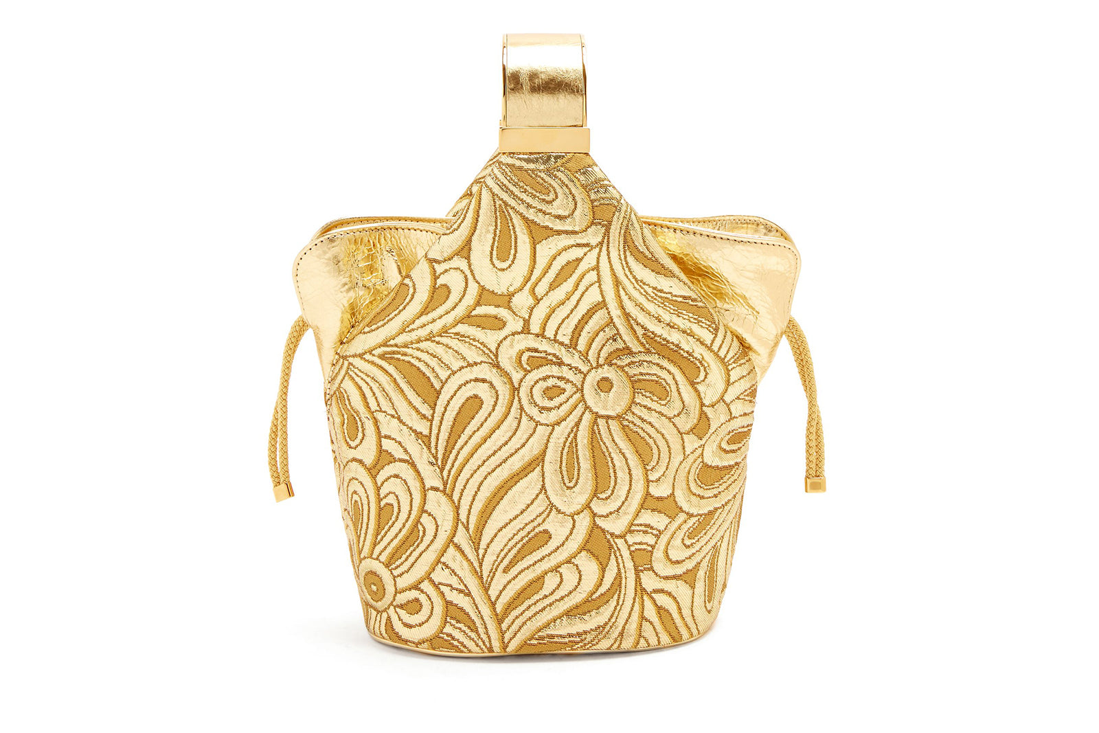 Kit Bracelet Bag in Metallic Gold Brocade with 24K Gold Dipped Hardware