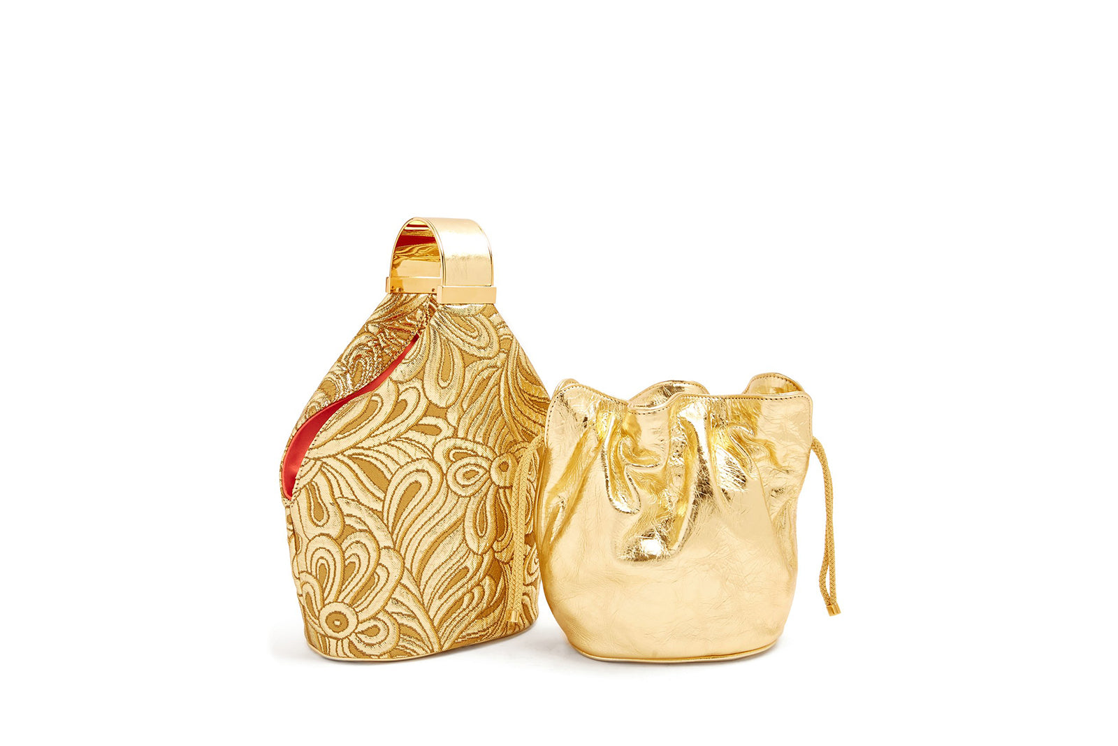 Kit Bracelet Bag in Gold Metallic Brocade with 24K Gold Finished Hardware