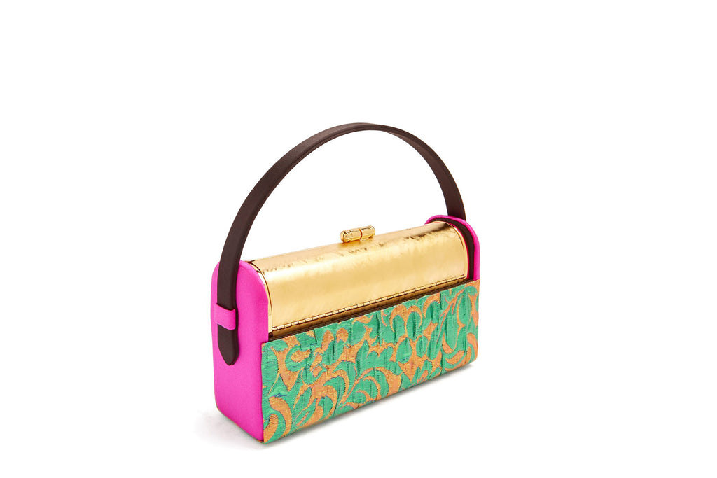 Régine Minaudière in Green Metallic Brocade, Fuchsia Satin and Black Satin Handle and 24k Gold
