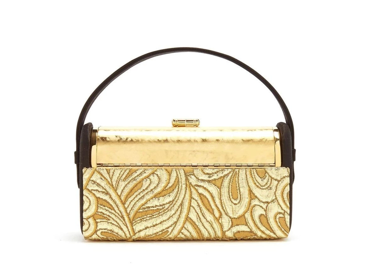 Régine Minaudière in Gold Metallic Brocade and Black Satin and 24k Gold