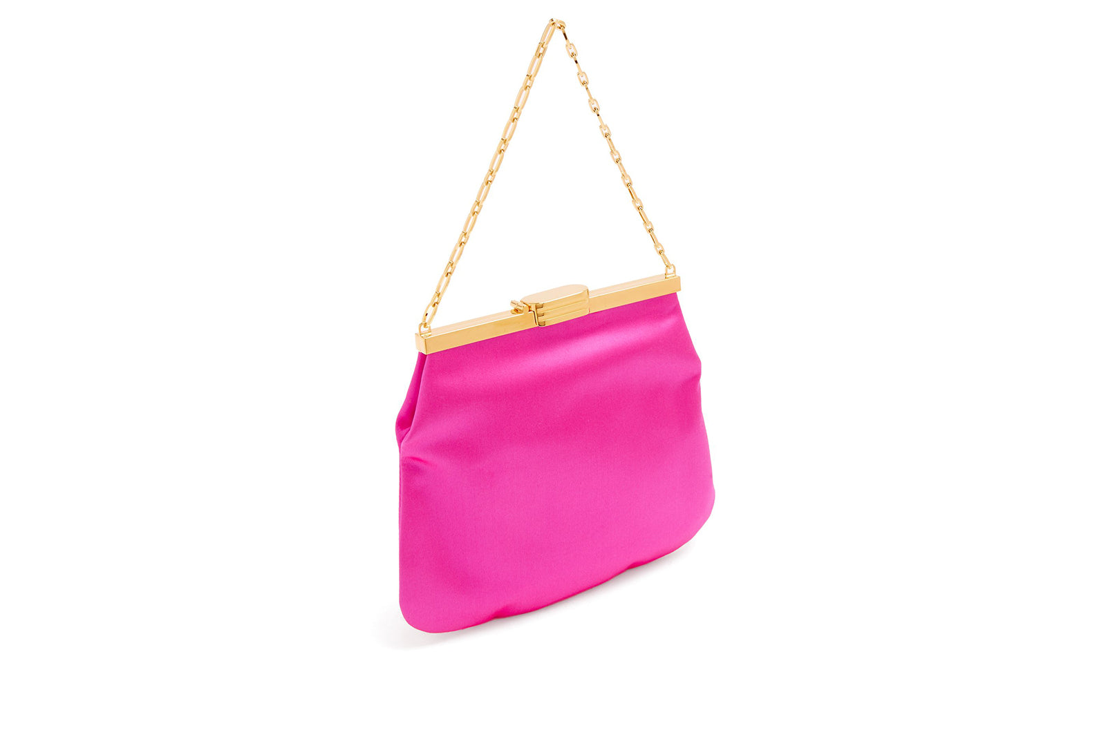 4 AM Bag in Fuchsia Silk Satin with 24k Gold Dipped Hardware