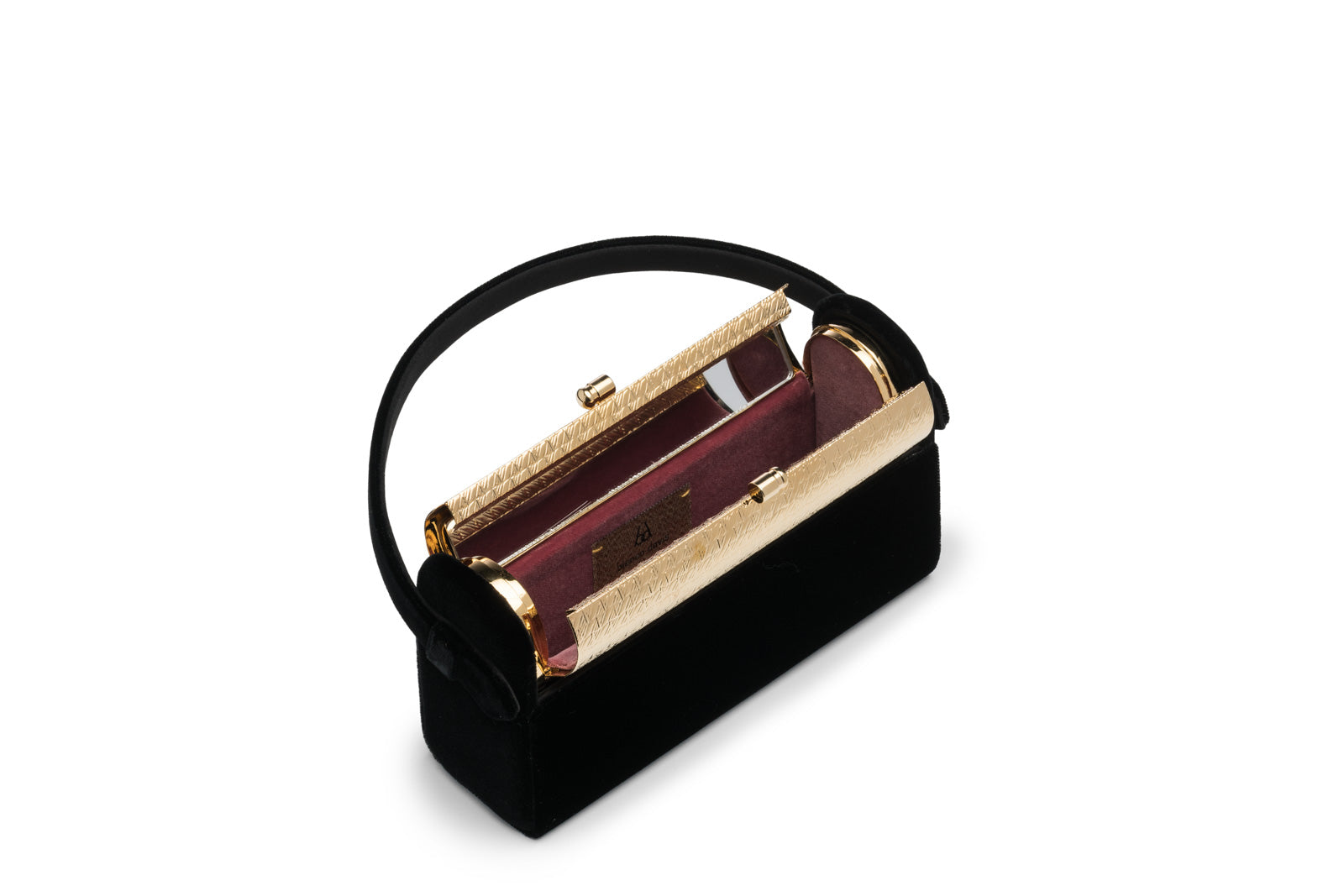 Régine Minaudière in Black Velvet with 24K Gold Dipped Hardware