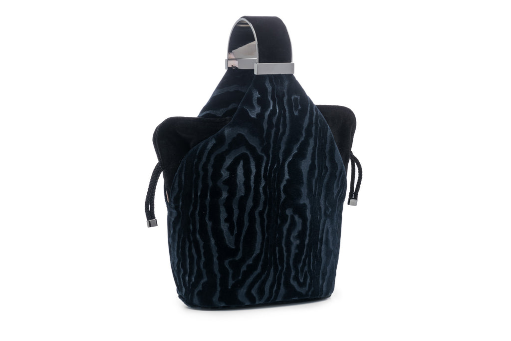 Kit Bracelet Bag in Navy Moiré Velvet with Gunmetal Hardware