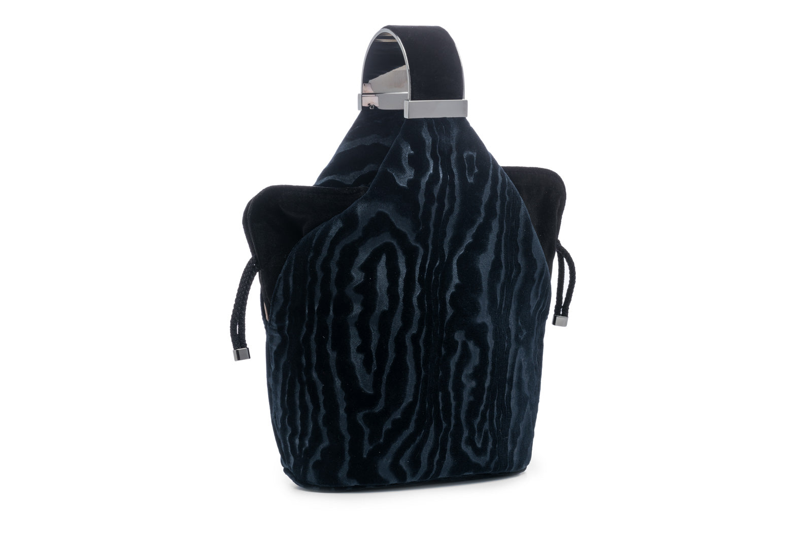 Kit Bracelet Bag in Navy Blue Moiré Velvet with Gunmetal Hardware