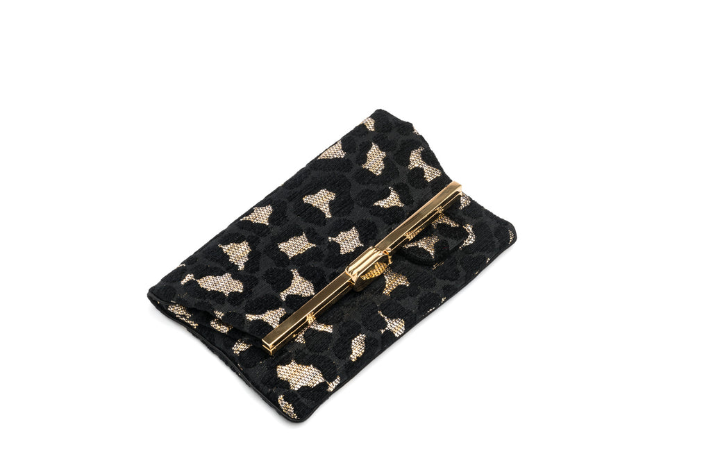 PM Clutch in Leopard Chenille Raffia 24K Gold Finished Hardware
